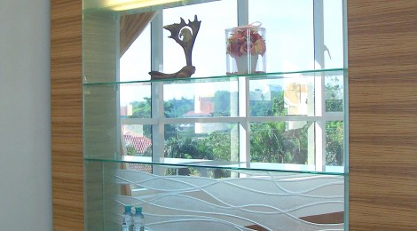 Glass Display Shelving with Design